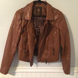 Vegan Brown Biker Jacket
